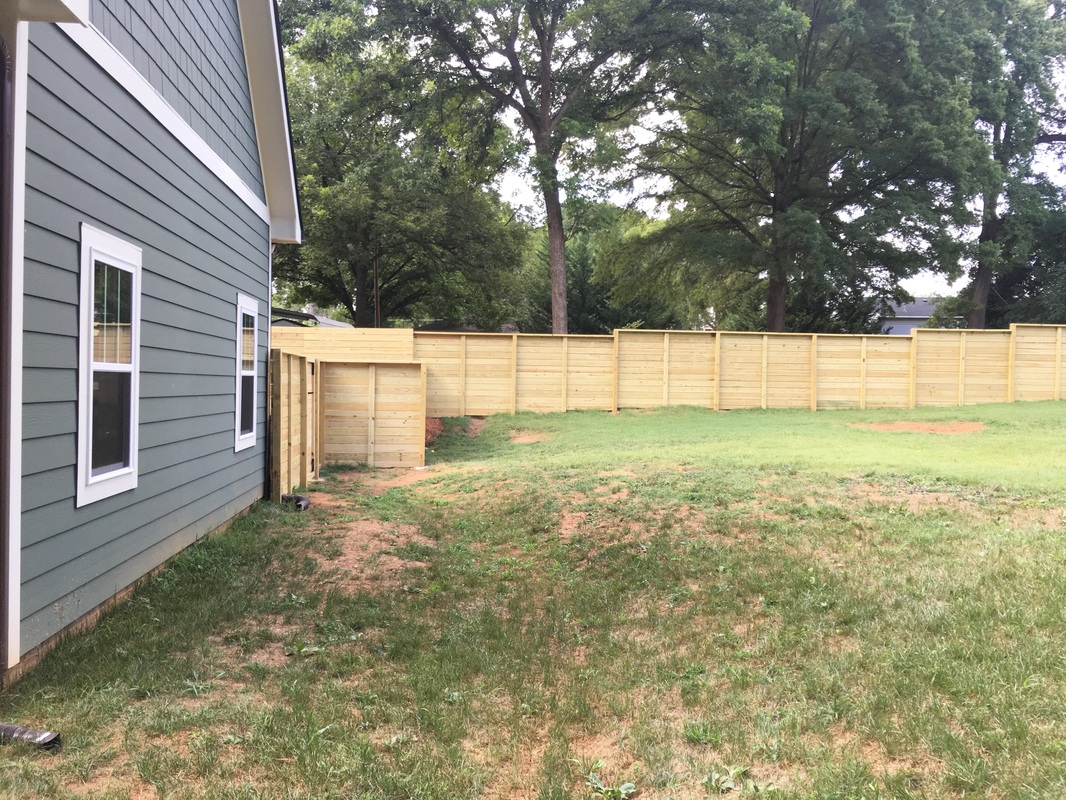 Horizontal Full Privacy Fence with Retaining Wall - Charlotte ...